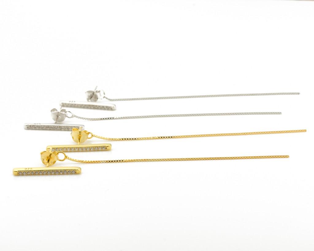 long gold earrings � chain earrings