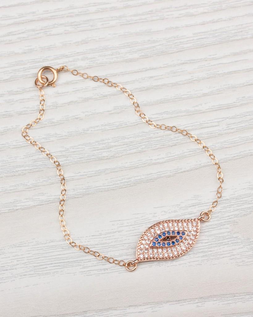 add0a2a604f8e Gold Evil Eye Bracelet - Rose Gold Bracelet