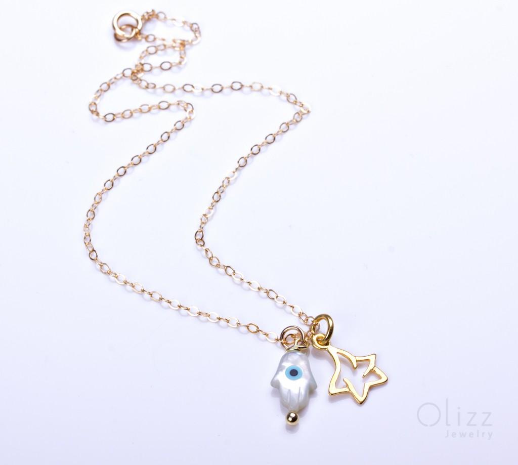 Hamsa Anklet, Evil Eye Anklet, Star Anklet, Hamsa Evil Eye Bracelet, Gold