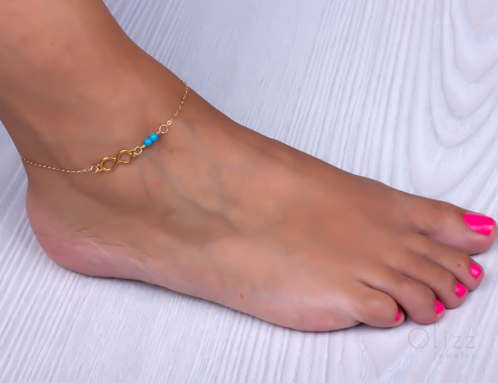 pin turquoise sterling gold anklet bracelet dangle ankle silver bracelets or fill