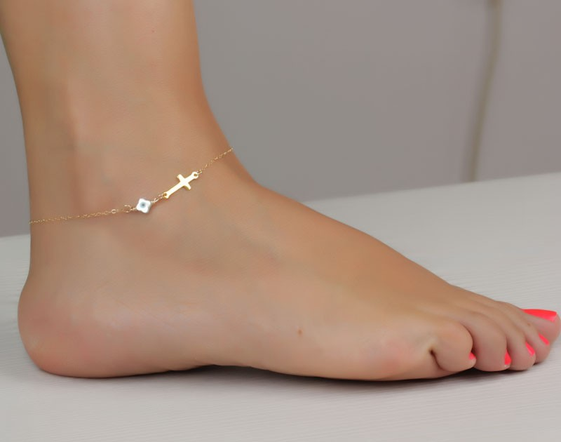 chain cuban under real for link barefoot men summer anklet gold foot bracelet platinum sandals women simple product jewelry plated best