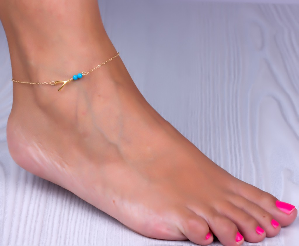 bracelet olizz sideways sybaris good bracelets women for wishbone ankle and luck turquoise anklet gold
