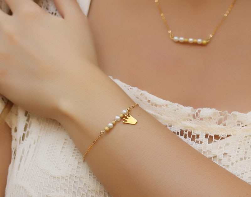 charm pearl gold bracelet 14k gold filled bridesmaid jewelry everyday bracelet gold