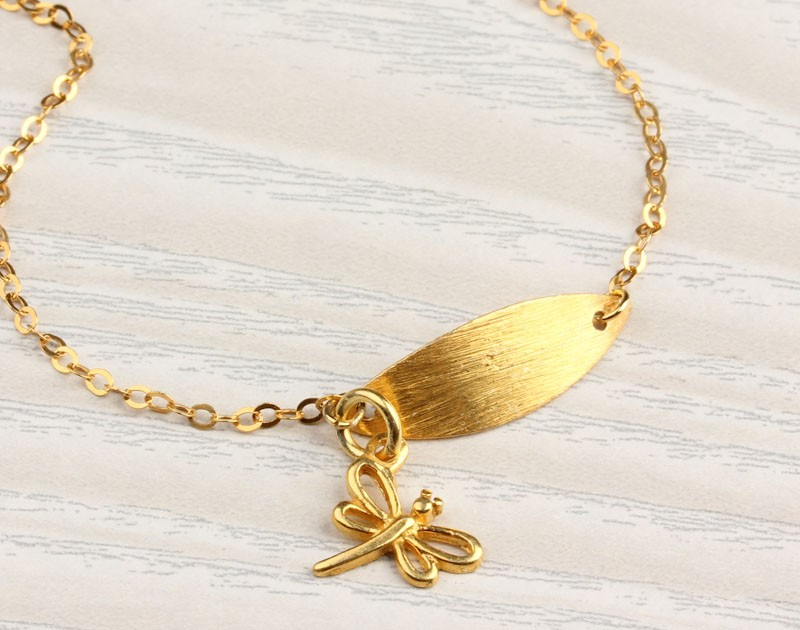 Dragonfly Bracelet Gold Leaf Y Sweet 16 Bridal Jewelry