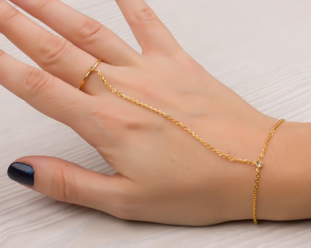 Slave Bracelet Ring Combo Hand Gold Adjule