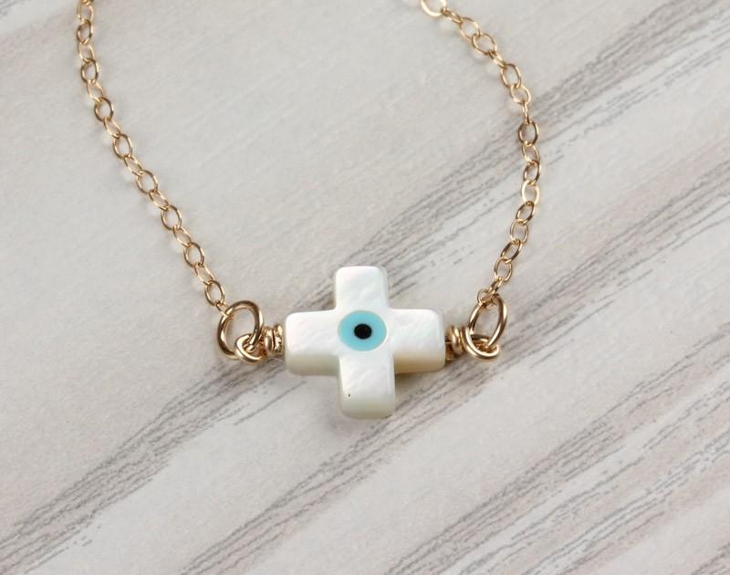 Evil Eye Bracelet Cross Gold Sideways Christening
