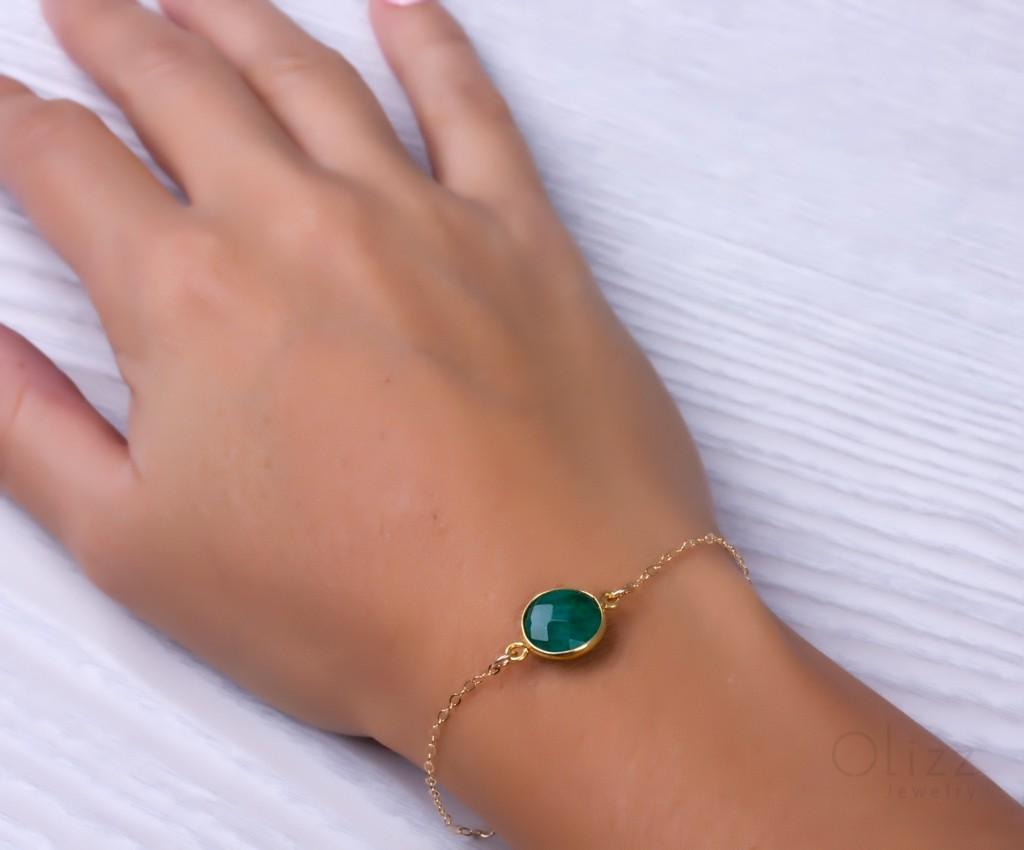 Genuine Emerald Bracelet Green Bridesmaid Gold