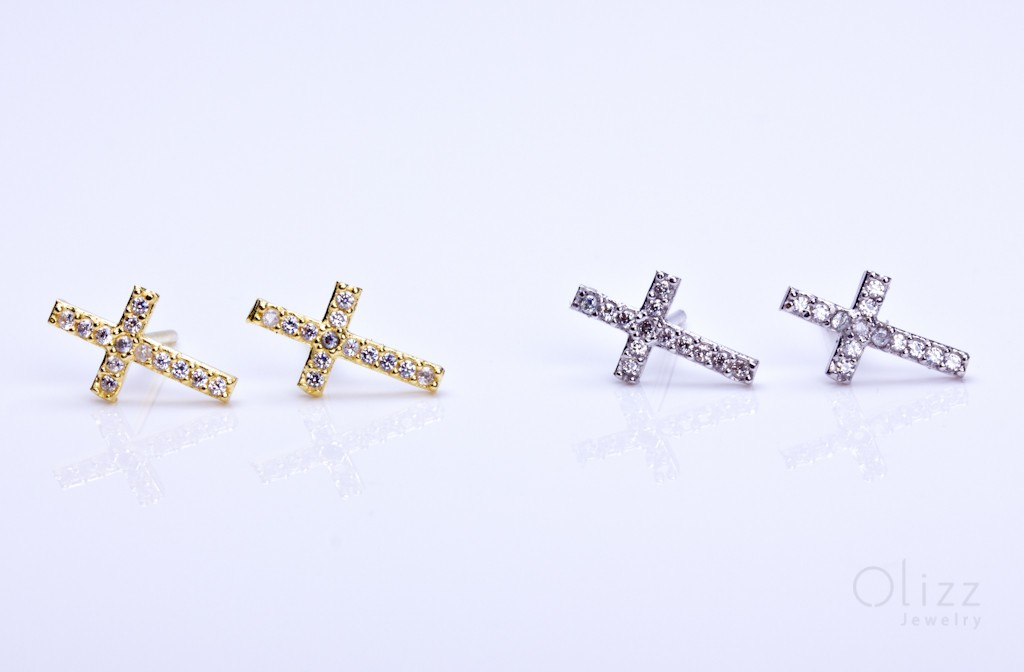 Gold Cross Stud Earrings Cubic Zirconia Sterling Silver Tiny