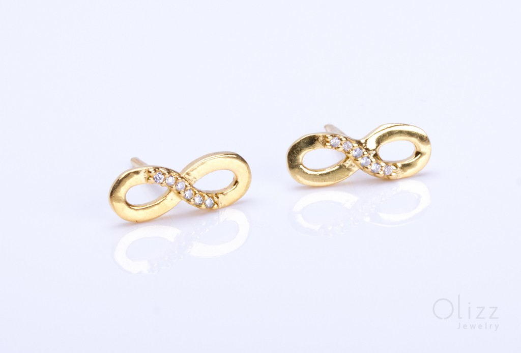 Infinity Earrings Gold Stud Bridesmaid Gift Cubic Zirconia