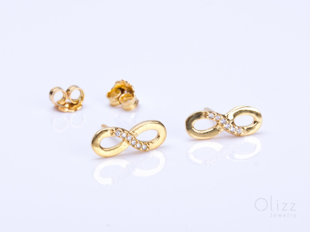 post studs small gold tiny stud infinity earrings l