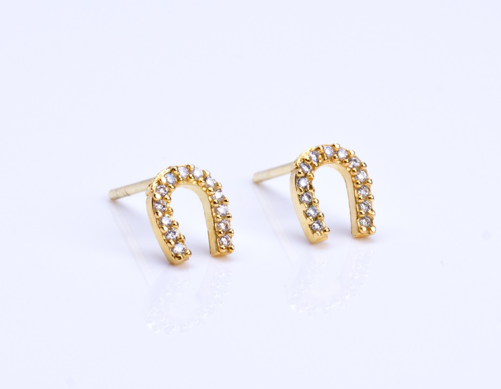 Horseshoe Stud Earrings Gold Tiny Cz