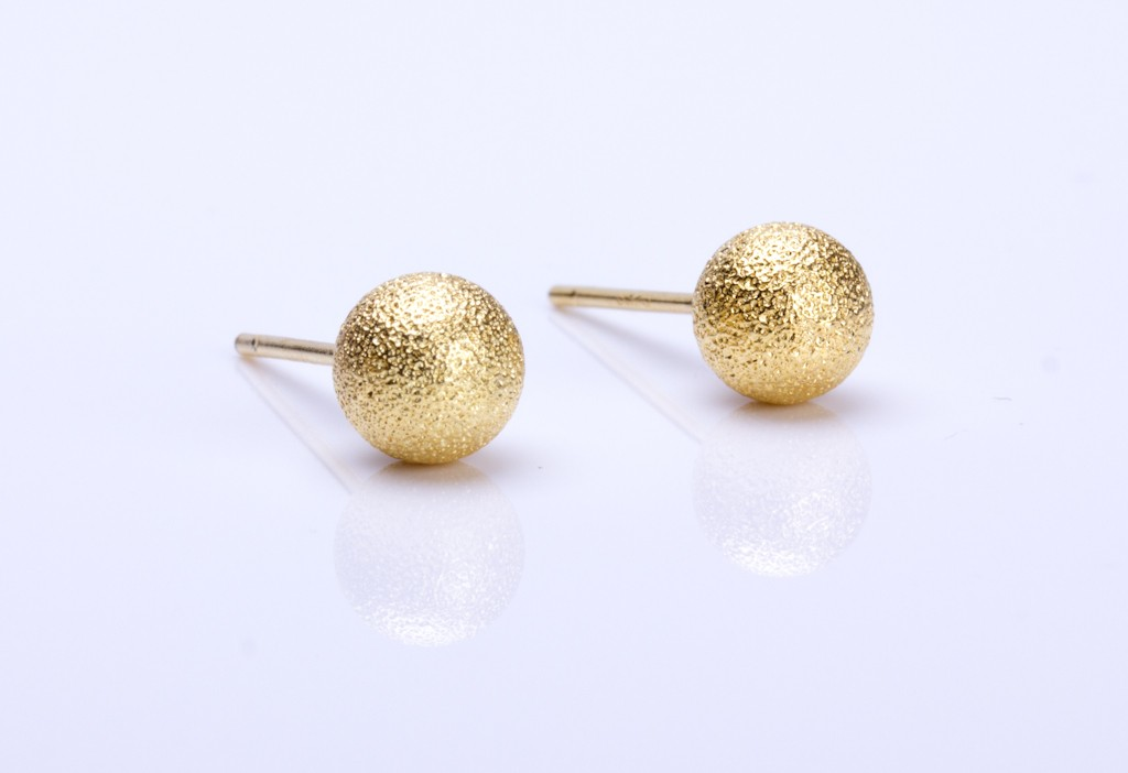 Gold Stud Earrings Sterling Silver Post Round Bridal Circle