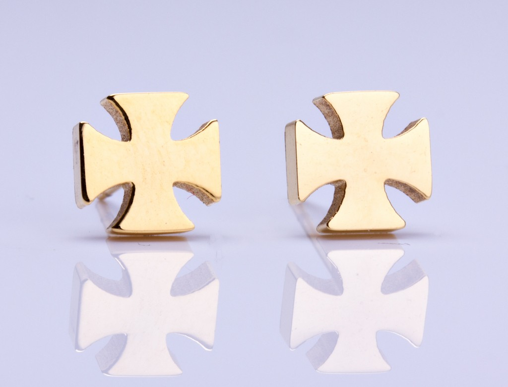Gold Cross Stud Earrings Crusader Tiny Rose Studs