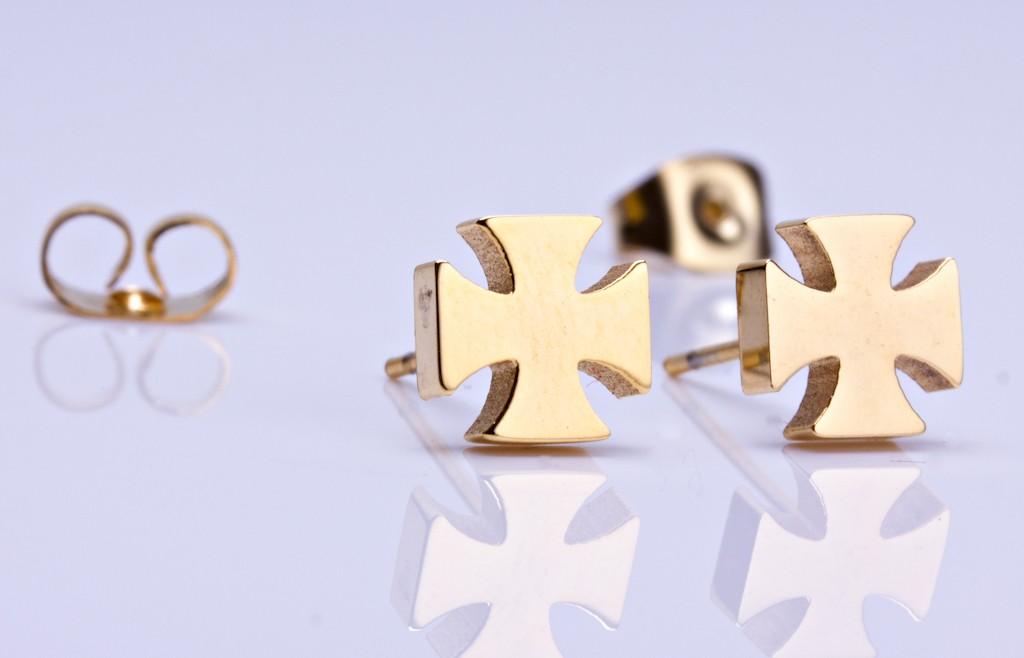Gold Cross Stud Earrings Crusader Tiny Rose Studs