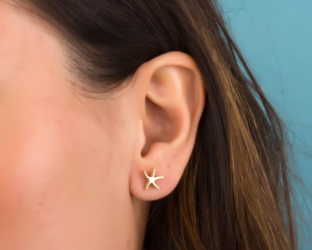 Starfish Earrings Gold Stud Tiny Post
