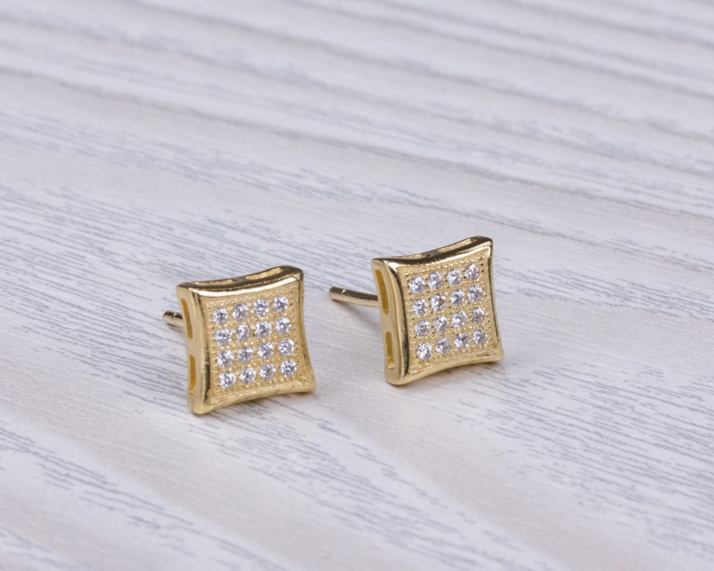 men gold earrings diamond square for l shaped stud