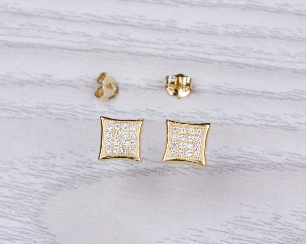 Diamond Shaped Stud Earrings Cubic Zirconia Square Gold