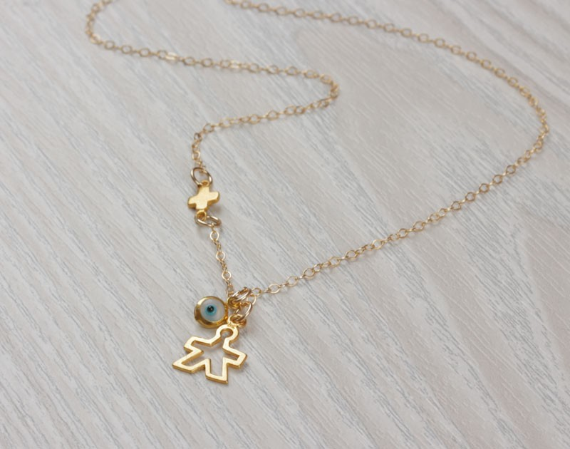 Mom Necklace Evil Eye Necklace Tiny Sideways Cross Necklace New