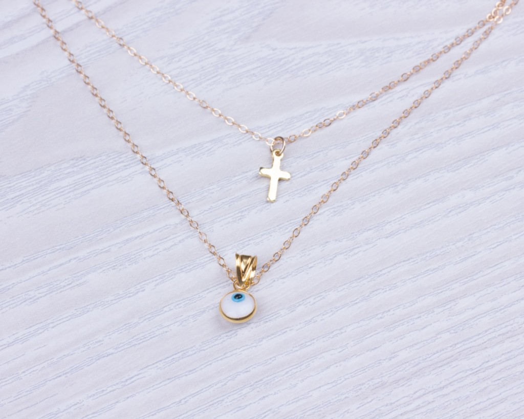 double brand necklace cross lucky res hi layer