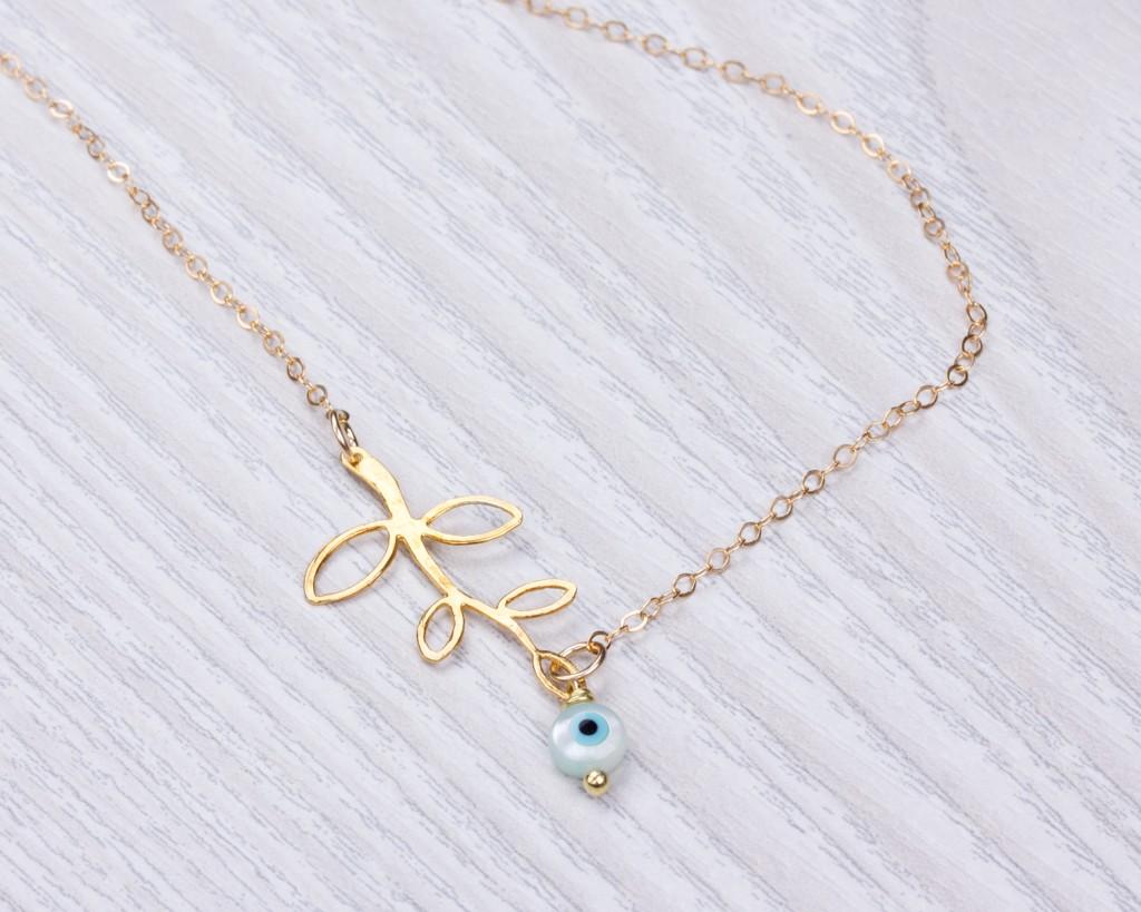 Evil eye necklace leaf necklace leneus leaf necklace gold branch necklace evil eye necklace laurel leaf bridesmaid necklace aloadofball Images