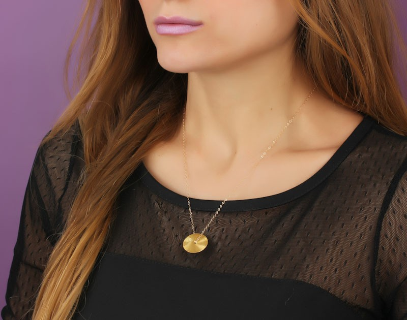 Disc necklace eternity necklace semele large disc necklace gold disc necklace gold circle pendant bridesmaid jewelry eternity aloadofball Gallery