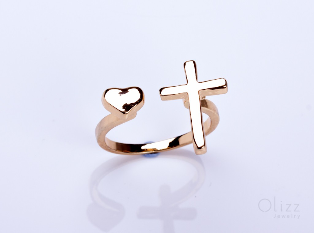 Silver Gold Ring Simple Gold Ring Cross Jewelry