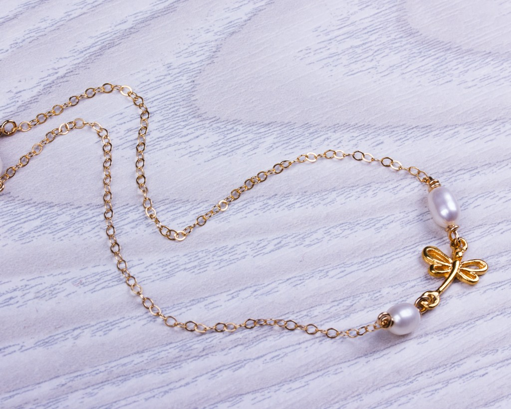 Sterling Silver Beaded Ankle Bracelet Dainty Dragonfly Charm Anklet Chain Good Luck Charm Jewelry White Opal Dragonfly Anklet