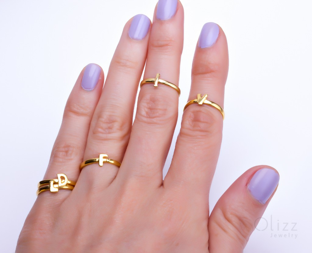 Personalized Gold Ring / Gold Letter Ring   Alpha Omega