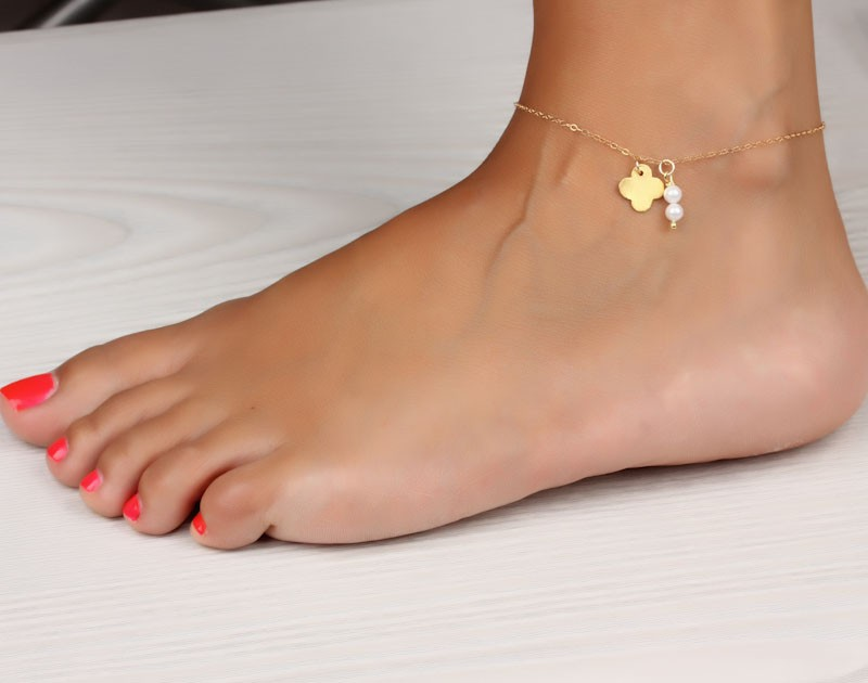 anklet swarovski her model products pearl crystal real crystals gold jewellery rose