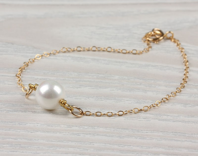 Pearl Bracelet Bridesmaid White Jewelry Bridal 14k Gold Filled