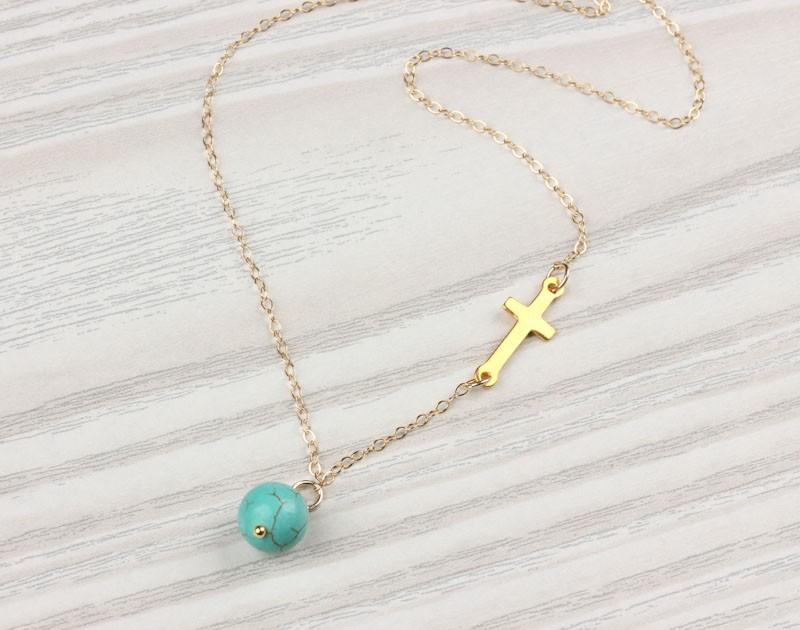Asymmetrical Necklace Sideways Cross Necklace Gaea