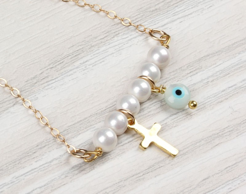 Evil eye necklace pearl necklace gold cross necklace tiny pearl evil eye necklace pearl necklace gold cross necklace tiny pearl necklace gold filled necklace bridesmaid jewelry iasis aloadofball Gallery