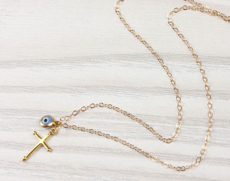 Evil eye necklace cross necklace nemea evil eye necklace gold cross necklace cross pendant blue evil eye necklace aloadofball Image collections