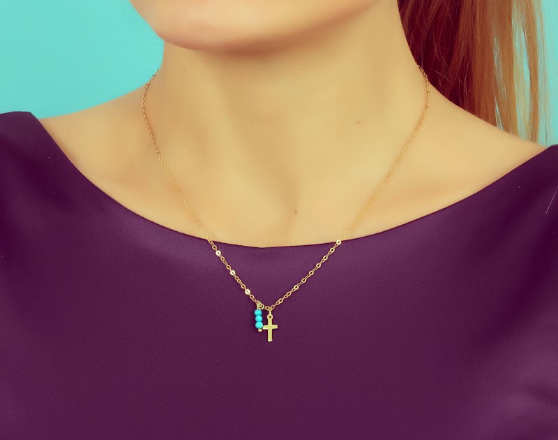 Turquoise necklace mother gift tiny cross necklace tiny cross necklace turquoise necklace gold cross mother gift 14k gold filled aloadofball Images