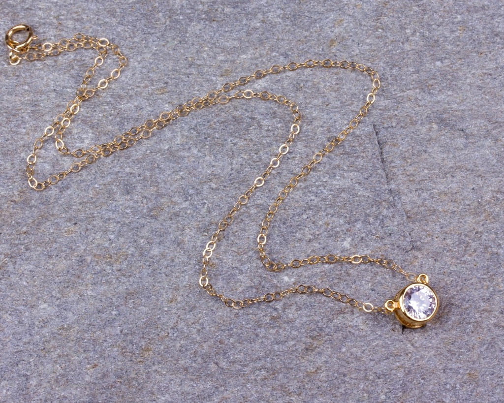 Solitaire diamond necklace cubic zirconia pendant aloadofball Image collections