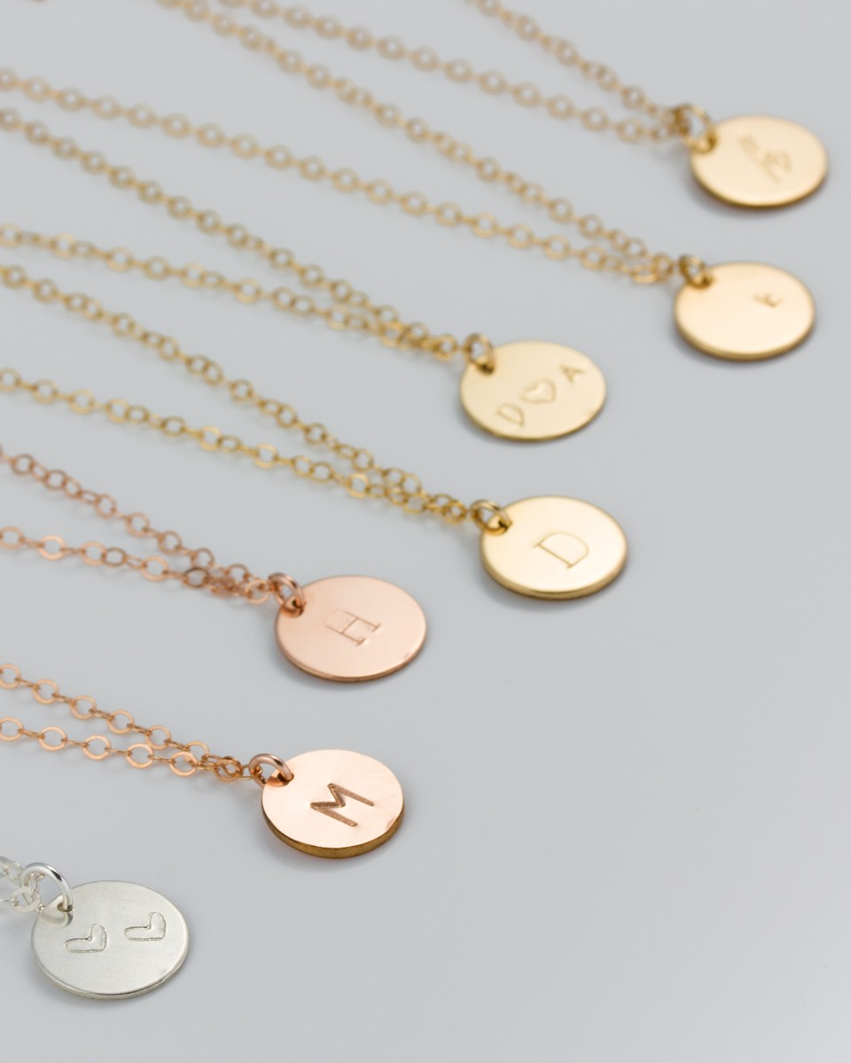 necklace gold side lindsaypearson solid original sided double disc pearson initial by lindsay mini product