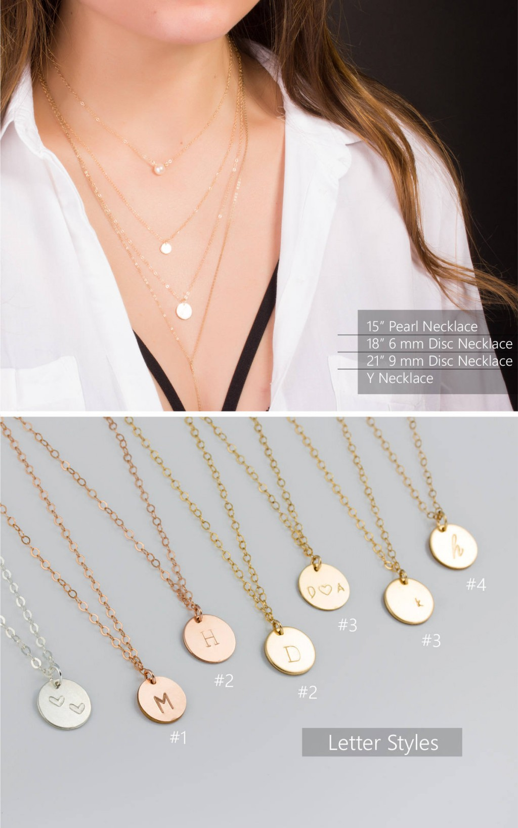 Monogram Initial Necklace Initial Disc Necklace