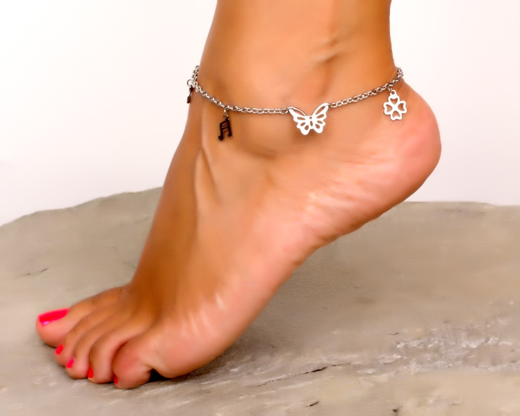itm heart is foot gift loading ankle anklets crystal silver chain womens charm s leg uk image bracelet