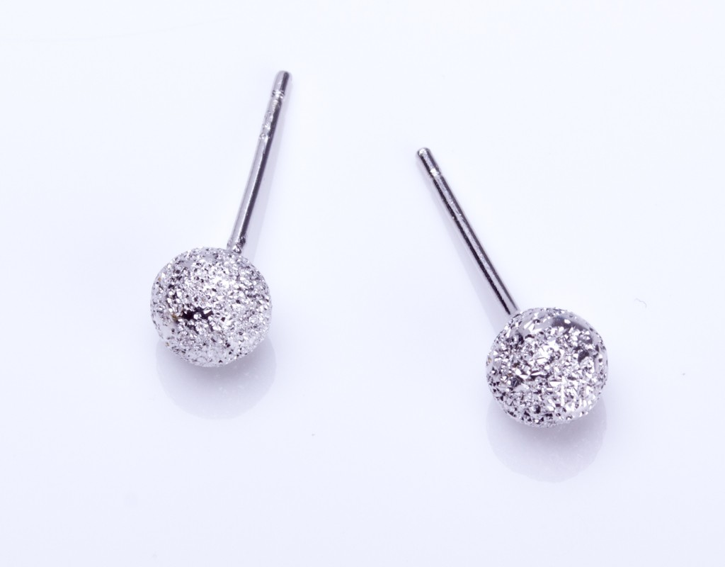 Sterling Silver Stud Earrings Tiny Studs Brushed Round