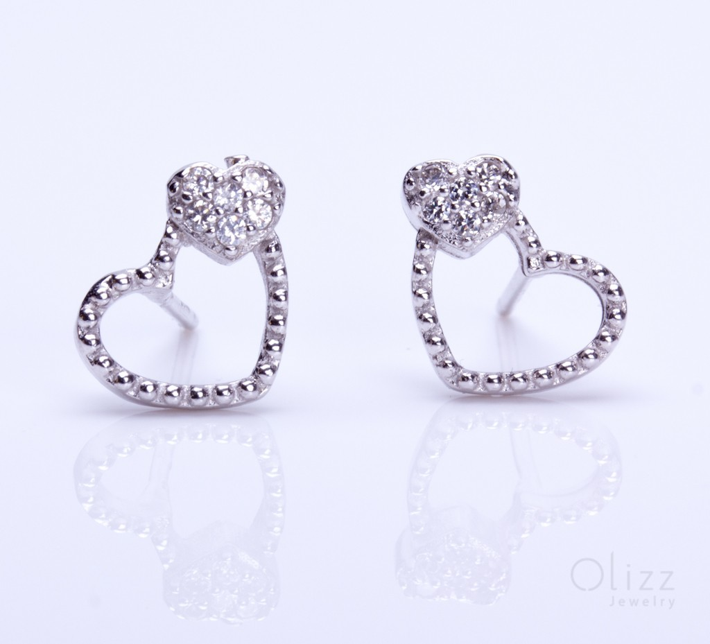 diamante us with silver earrings heart lovemystyle detail shaped