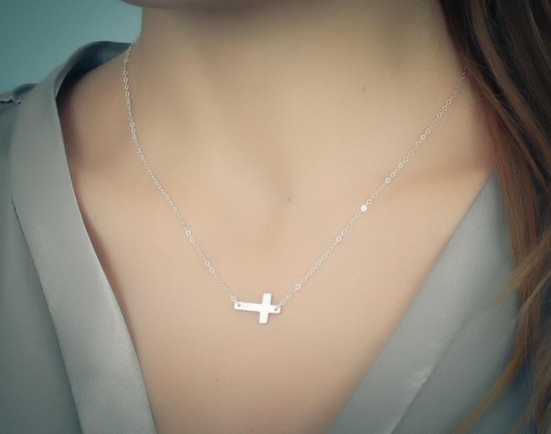 Faith necklace sideways cross necklace sideways cross sideways cross necklace sterling silver cross necklace cross pendant bridesmaid necklace faith aloadofball Gallery