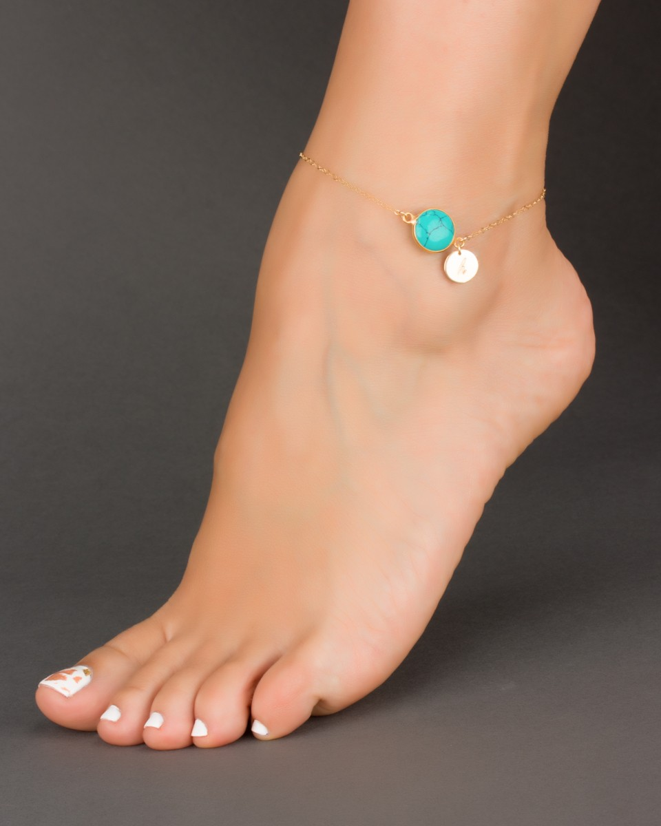 sterling silver bracelet ankle anklet foot bracelets handcrafted jewelry pin turquoise beach
