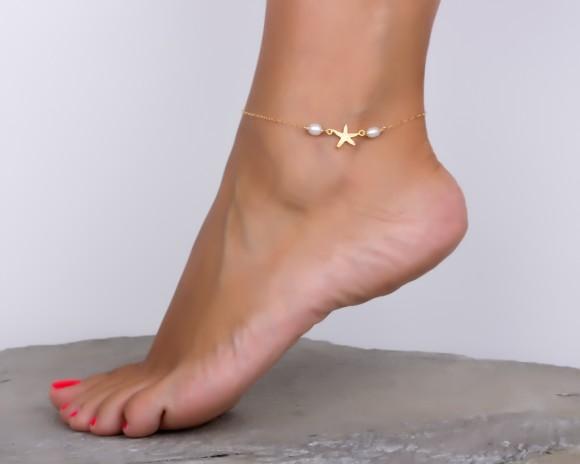 Pearl anklet / Starfish Anklet | Rhanis