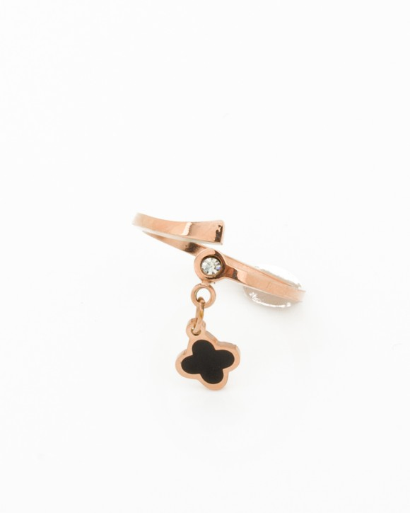Rose Gold Clover Ring •  Pinky Ring