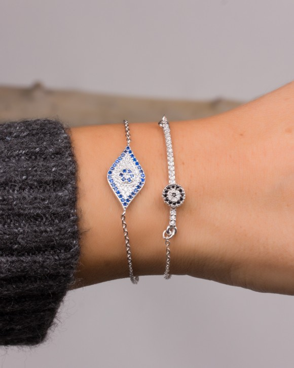 Sterling Silver Bar Bracelet • Evil Eye Bracelet