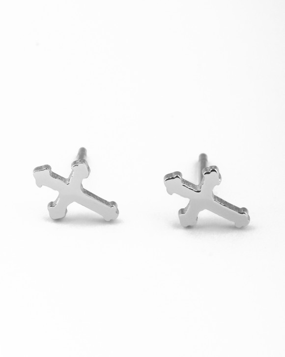 Cross Studs • Silver Stud Earrings