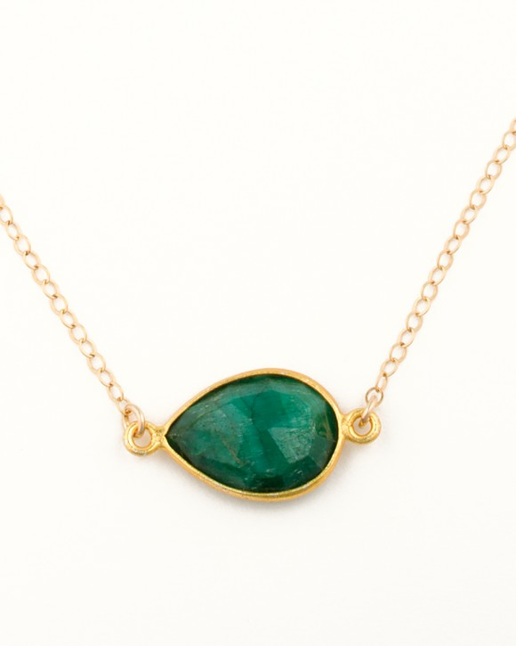 Gold Emerald Necklace • Birthstone Necklace