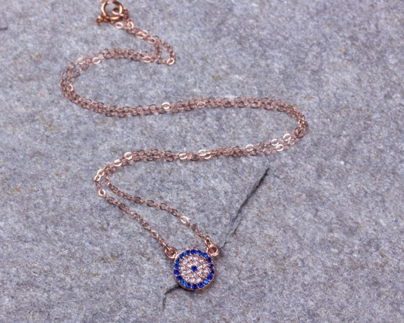 Rose Gold Evil Eye Necklace • Tiny Evil Eye Necklace