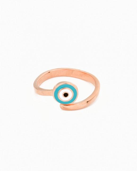 Rose Gold Ring - Evil Eye Ring