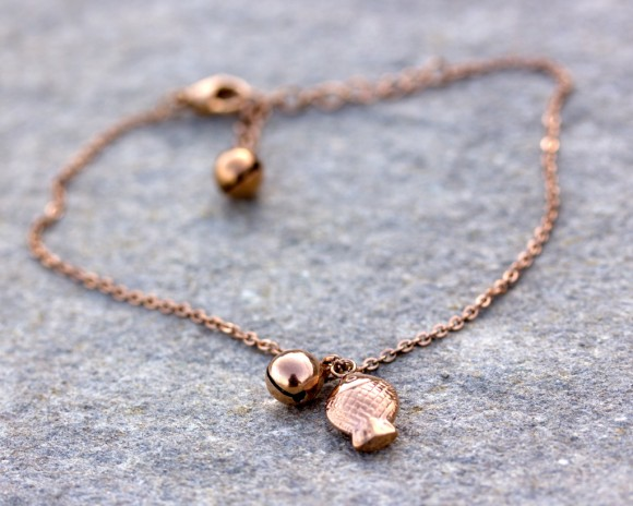 Rose Gold anklet, Bell Anklet / Boho anklet, Rose Gold bracelet / Gypsy Anklet, Beach Jewelry / Fish Jewelry, Stainless steel | Bell